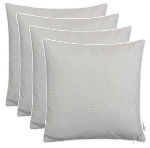 Brandsseller Cojines decorativos para jardín al aire libre con ribete, teñidos con hilo, resistentes a la suciedad y al agua, con cremallera, tamaño: 45 x 45 cm (pack de 4 unidades), color gris claro