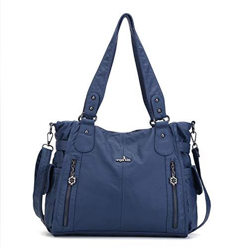 Handbag Hobo Women Shoulder Bag/Handbag Roomy Multiple Pockets Fashion PU Tote, Blue