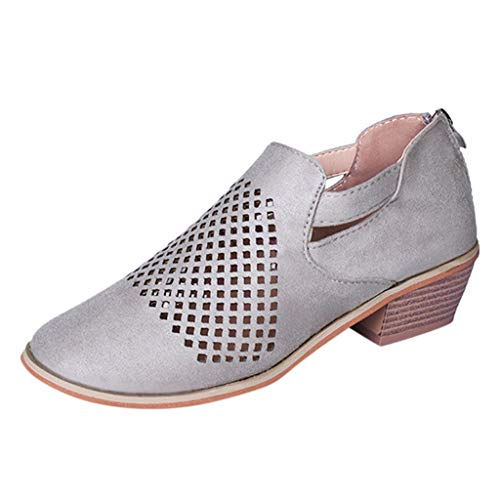 Review Of jin&Co Womens Ankle Boots Fashion Hollow Out Breathable Anti Slip Chunky Low Heel Bootie...