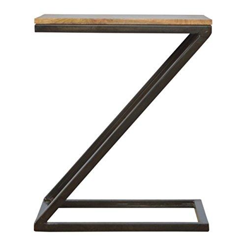 Artisan Meubles Table d'appoint avec Base de Fer, Bois, Oak-ish Top/en étain, 50 x 40 x 60 cm