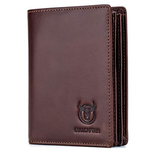 of pouch wallets dec 2021 theres one clear winner BULLCAPTAIN Large Capacity Genuine Leather Bifold Wallet/Credit Card Holder for Men with 15 Card Slots QB-027 (Brown)