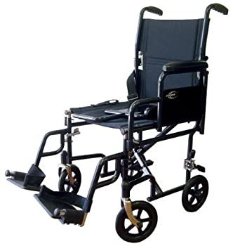 Lightweight Transport Wheelchair with Detachable Desk Arms Seat Size  17  W