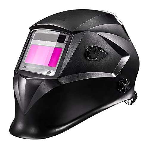 Schweißhelm, Schweißmaske Automatik mit 4 Sensoren, Optische Klasse: 1/1/1/1, Solar Schweißmaske (Variable Abdunklung 4/5-9/9-13)