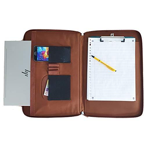 Documentmap A4 leer - Safekeepers Conferezmap A4 - schrijfmap XL - map met vakken en RFID-bescherming - map A4 Cognac Braun - L