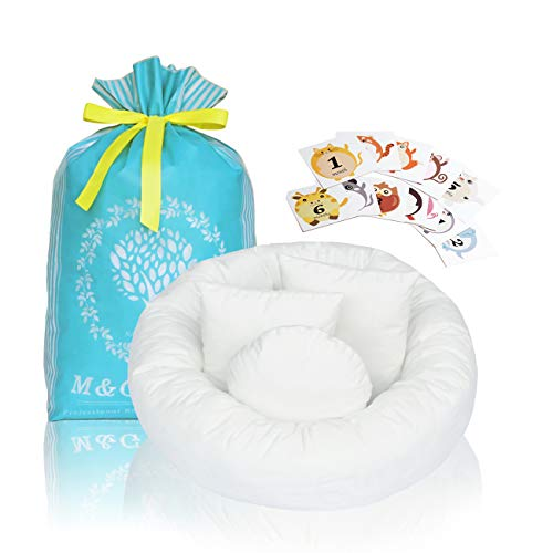 M&G House Newborn Photography Props | Baby Photo Props | (Large Size) 4 PCS Ultra-Soft Baby Donut Posing Pillow | Infant Posing Props for Boy or Girl | Free 12 PCS Baby Month Sticker(Fits 0-6 Months)
