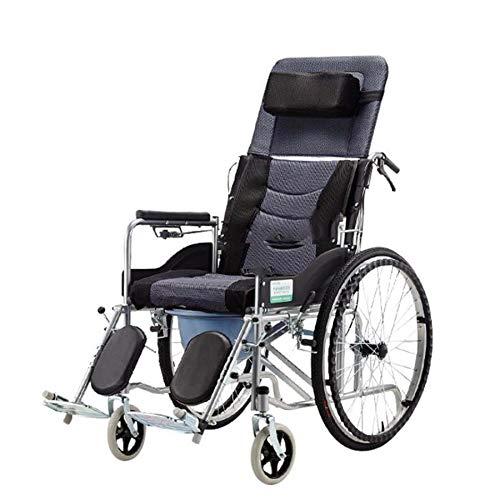 Silla de ruedas reclinable deportiva liviana, silla de transporte plegable con asiento de 18 pulgadas, reposapiés abatible Silla de ruedas reclinable de 180 °, silla de ruedas para adultos, 24 'x 7'