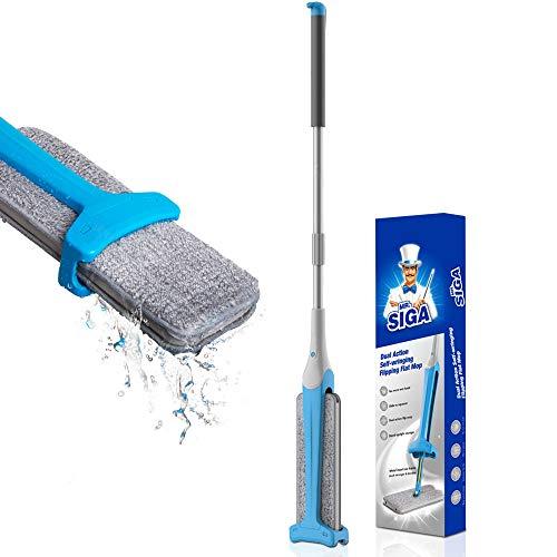 MR.SIGA eenvoudige zelfwringende mop dubbelzijdige mop voor laminaat, tegels, hardhouten vloeren, nat en droog vegen aan 2 zijden, afmetingen bekleding 12,5 x 4,3 inch (32 x 11 cm)