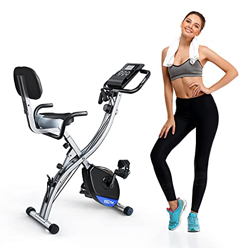 MGYM Folding Exercise Bike, Magnetic Resistance 3-in-1 Upright Recumbent Stationary Fitness Bikes 300lb Capacity with Back Support Arm Workout Band Extra Large Seat Cushion, Home Gym Cardio Training Equipment for Men Women