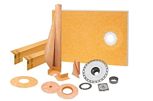 Schluter Kerdi 38-Inch X 60-Inch Off-Center Shower Kit with Stainless Steel Drain