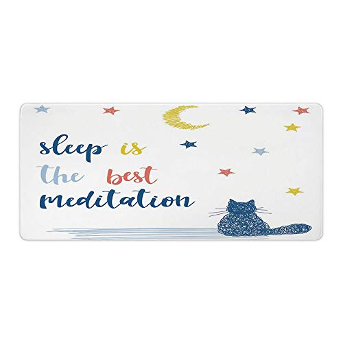 "AmaUncle Desk Pad Office Desktop Protector Cat Saying, Sleep is The Best Meditation Rubber Desk Mat Blotters Organizer with Comfortable Writing Surface W23.6"" x L11.8"" AM007177"