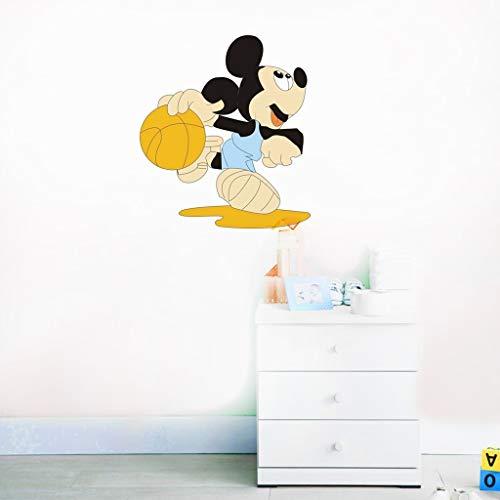 Stickers muraux Mickey Mouse Happy Disney Decal Mickey Mouse jouer au basket Mickey Mouse Stickers Disney vinyle autocollant pour chambre d'enfants