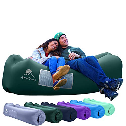 AlphaBeing Inflatable Lounger - Best Air Lounger for Travelling, Camping, Hiking - Ideal Inflatable Couch for Pool and Beach Parties - Perfect Air Chair for Picnics or Festivals (Military Green)