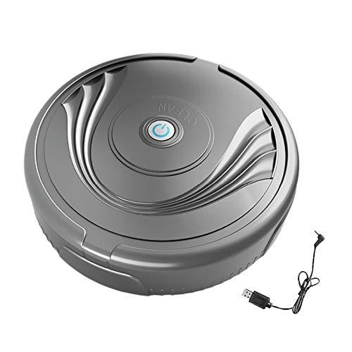 Jeromeki Robot Aspirador, USB Barredora Barrido DoméStico Inteligente RobóTico Delgado Silencioso para Piso de Madera, Alfombra, Azulejo, Cabello, Negro