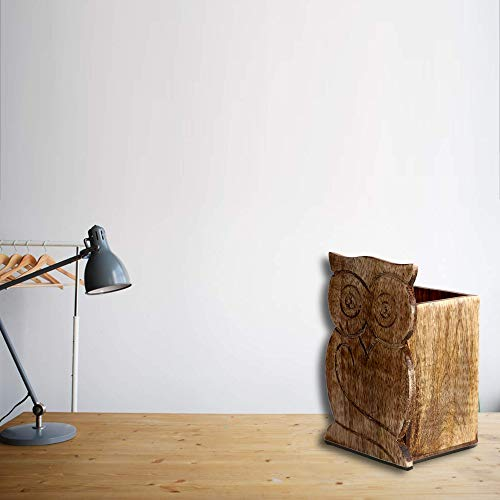 S.B.ARTS - Portapenne in legno rustico a forma di gufo, ideale come regalo di compleanno 3 X 3 X 5 Antico.