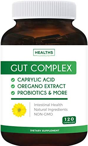 Gut Complex Caprylic Acid Oregano Oil Probiotics Non GMO Supplement 120 Capsules No Pills product image