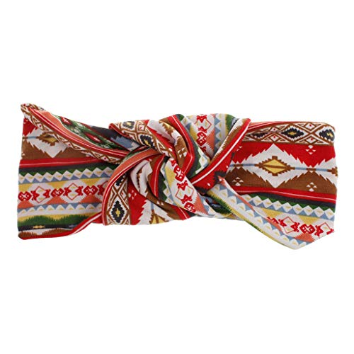 Boho Print Stirnbänder, TTWOMEN Krawatte Knoten Headwrap Haarband Kopf Hoop Wickelt Elastic Turban Haar Zubehör Mode (F)