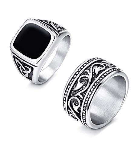 Finrezio Signet Ring in Stainless Steel for Men Band Ring Celtic Vintage Biker Ring Set 2 Pcs Size Y