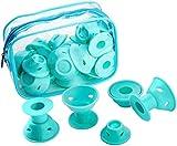 WolinTek 20 Pcs Bigodini Silicone, Bigodini Arricciacapelli, Senza Sforzo e Senza l'uso del Calore Rullo Arricciacapelli per Acconciatura Capelli DIY, 2 Dimensioni (Blu)