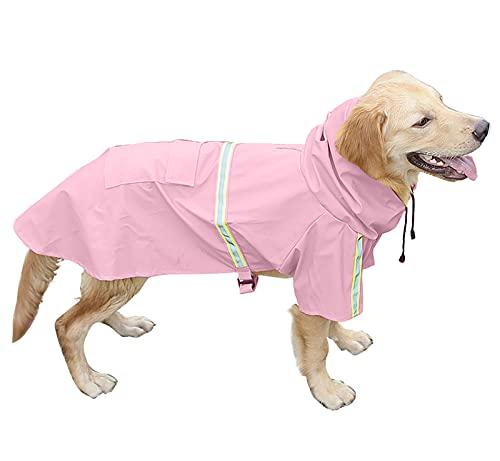Brabtod - Chubasquero para perros al aire libre con tira reflectante, impermeable, para perros pequeños, medianos y grandes, color rosa