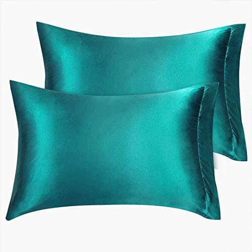 DyniLao - Paquete de 2 fundas de almohada de satén verde azulado, fundas de almohada tamaño king, fundas sedosas para el cabello y la piel de 20 x 40 pulgadas
