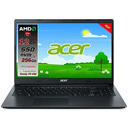 Notebook portatile Acer Slim Amd A4 3020 di ultima generazione, Ram 8GB, SSD PCIe NVMe 256GB, Display 15.6  HD Led, Svga AMD Radeon R3, 3 usb, wi-fi, hdmi, bt, win 10 pro, pronto all uso, gar.Italia