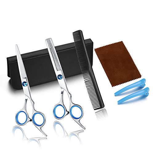 CC beauty Haarschere set Professionelle Friseurschere Kit mit Haarschere, Effilierschere, Stylingkamm, ein Paar Haarspange für Damen und Herren Zuhause Perfekter Haarschnitt