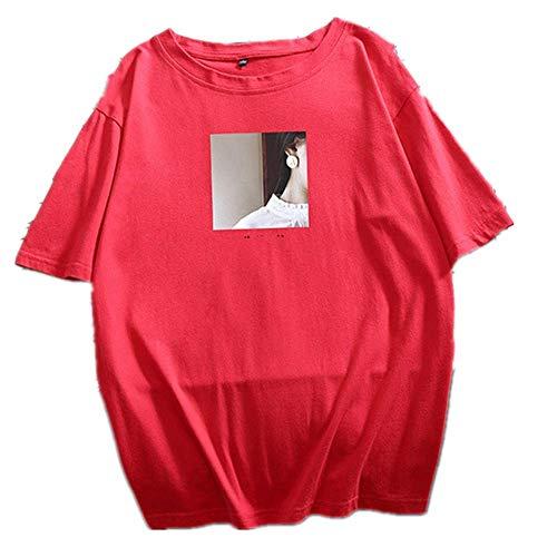 Impreso camiseta de verano de las mujeres de cuello O camisetas de algodón para las señoras cómodas tops femeninas