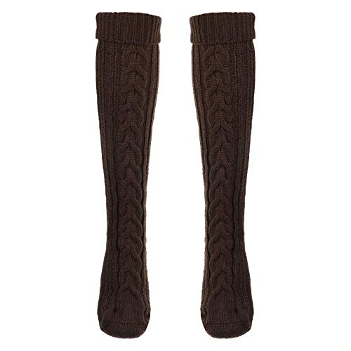 1 paio di calze lunghe in maglia invernale a tubo alto al ginocchio, per donne signora ragazze accessori da viaggio, Caff (Marrone) - 3TN945Q2A0410126LB0ZA