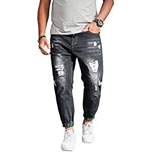 Men's Casual Distressed Style Tapered Leg Harem Jogger Jeans Denim Pa...