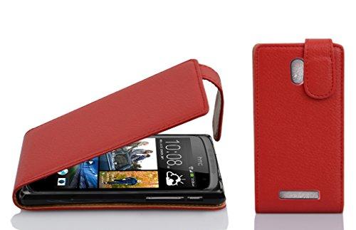 Cadorabo Hülle für HTC Desire 500 in Inferno ROT - Handyhülle im Flip Design aus Strukturiertem Kunstleder - Hülle Cover Schutzhülle Etui Tasche Book Klapp Style