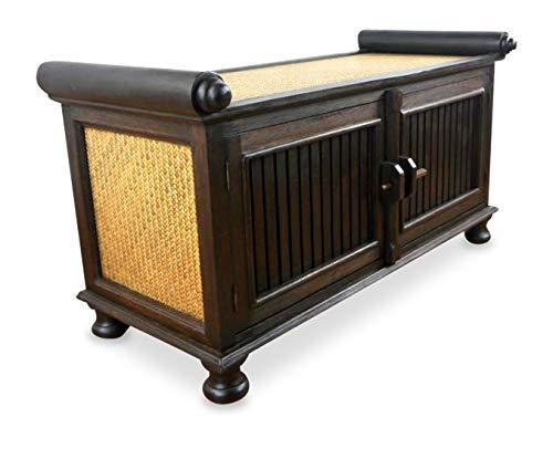 livasia Rattansideboard TV-Bank HiFi-Sideboard asiatische Phono Möbel Sitzbank (mittel)