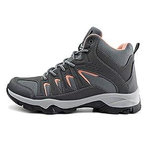 JABASIC Womens Mid Hiking Boots Lightweight Outdoor Trekking Shoes (5,Grey/Pink)