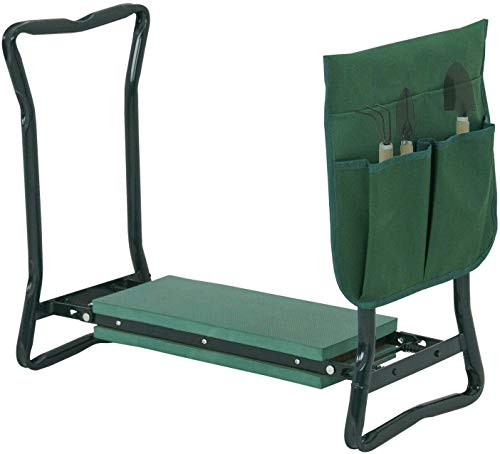 Galax Supply 24 inch 250-lbs Foldable Kneeler Garden Bench Stool Soft Cushion Seat Pad Kneeling with Tool Pouch