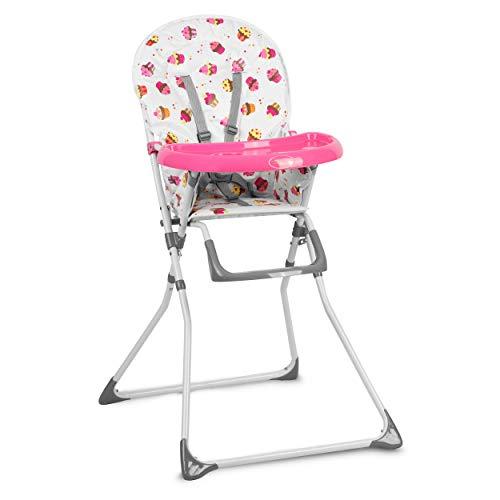 Kinderhochstuhl Hochstuhl Baby Kinderstuhl Babystuhl , Verstellbar und Klappbar, Fußstütze, Tablett Polster Ricokids Fando (Rosa)