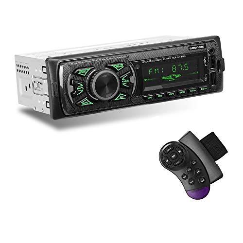 GRUNDIG Autoradio con sistema vivavoce Bluetooth e telecomando al volante, lettore MP3 per autoradio 1 DIN con riproduzione / ricarica di musica, lettore multimediale digitale con funzione vivavoce