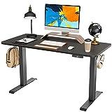 FAMISKY Standing Desk Dual Motors, Adjustable Height Electric Stand up Desk, 40 x 24 Inches Sit Stand Home Office Desk, Ergonomic Workstation Black Steel Frame/Black Wood Tabletop