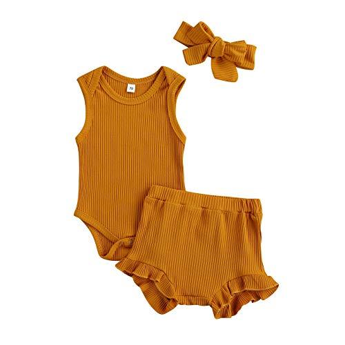 BemeyourBBs Trajes de verano recién nacidos para niñas y bebés de color sólido de manga corta mameluco pantalones Bloomer pantalones diadema 3 piezas ropa infantil conjuntos