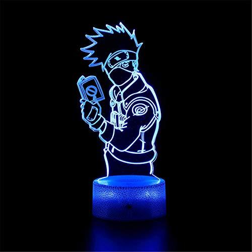 Lámpara 3D de ilusión 3D Naruto Hatake Kakashi C 16 Cambio de color Lámpara Decoración – Regalo perfecto para niños y habitación decoración