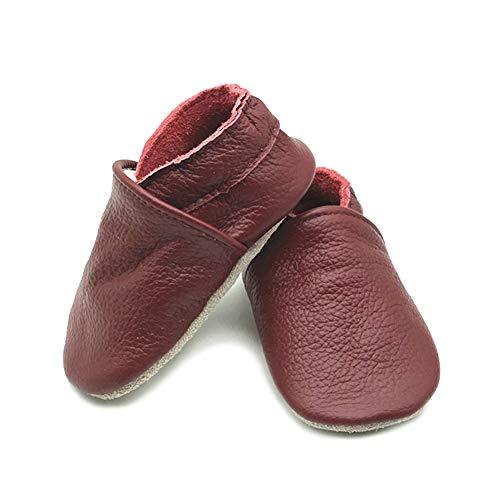 LPATTERN Unisex-Baby Neugeborene Jungen/Mädchen Weicher Leder Lauflernschuhe Krabbelschuhe Babyschuhe Hausschuhe, Einfarbig Weinrot, 12-18 Monate
