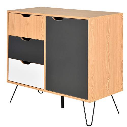 HOMCOM Sideboard Kommode Beistellschrank im skandinavischen Design viel Stauraum Natur Spanplatte 95 x 39,5 x 80 cm