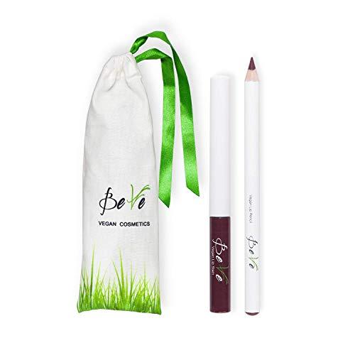 BeVe - Kit de maquillaje vegano para los labios con barra líquida y perfilador