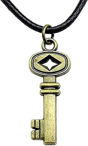 LBBYLFFF Collar Mujer Collar Joyas Cadena de Cuero Collar para Mujer Bronce Antiguo 32x12mm Collar con Llave Retro Colgante Regalo Femenino