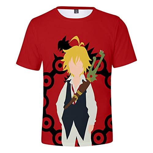 Zcbm Garçons Filles Manches Courtes Et Col Rond Débardeurs 3D Impression The Seven Deadly Sins Dragon's Sin of Wrath Meliodas Graphique T-Shirts Anime Tee Tops,B,XXL