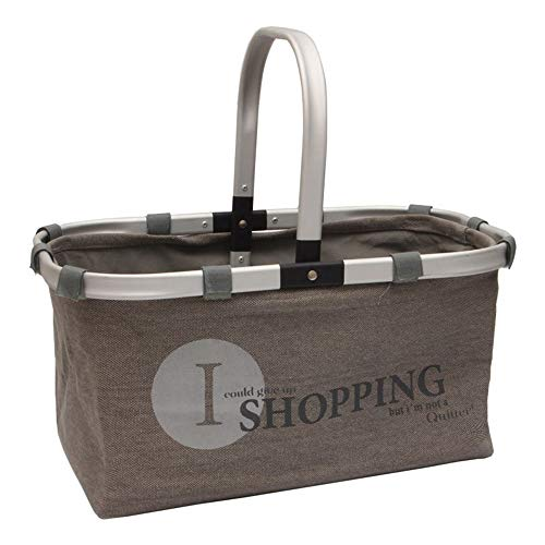 INFILM 1pcs Storage Basket Foldable Eco Shopping Basket Carry Bag with Folding Frame Collapsible Handle(Logo is Shipped Randomly)