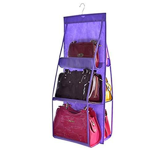 Dongbin Hängende Handtaschen-Organisator Staubdichte Lagerung Inhaber Tasche Kleiderschrank Für Geldbeutel-Kupplung Mit 6 Größeren Taschen,Lila