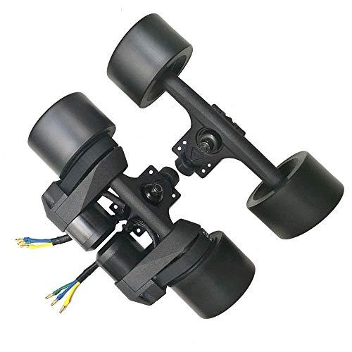 YOUMI Electric Skateboard Drive kit Double Drive hub brushless Motor Wheel 1500W Belt Conduction 83MM/90MM high Elasticity PU Wheel, Black,Schwarz