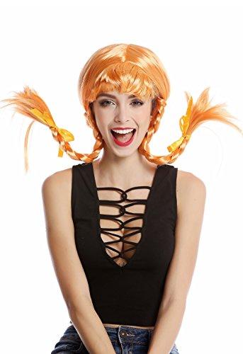 WIG ME UP - DDH-T8175-PC21 Perücke Damenperücke Karneval Halloween Freche Göre Lolita steife geflochtene Zöpfe orange Pony