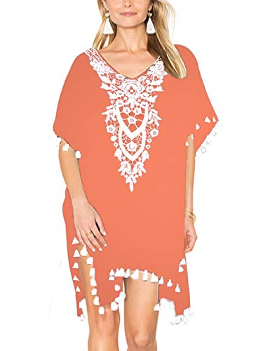 Kaei&Shi Batwing Lace Beach Coverups for Women,Crochet Floral Beach Wear,Pom Trimmed Cover Up,Loose Sheer Beachwear Coral Medium