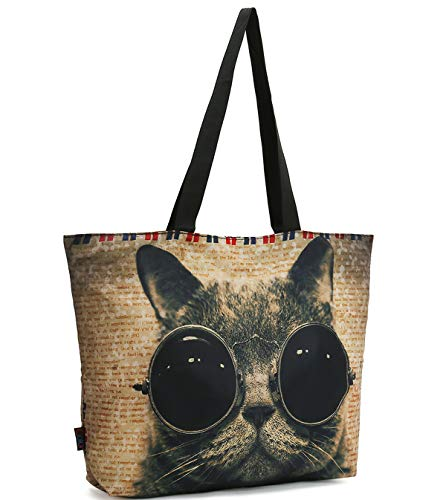 ICOLOR Cool Sunglasses Cat Gym Bag Shopping Tote Bags Shoulder Bag,Boys Girls Travel Beach Grocery Shoulder Bag with Zipper,Reusable Gym Picnic Work Daily Use Tote Bag(GymBag-11)