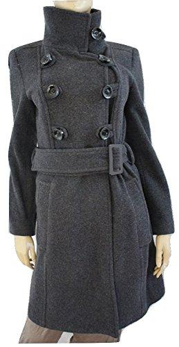 Zara Abrigo con cinturón de mezcla de lana gris carbón